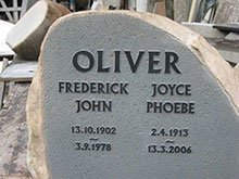 Frederick and Joyce Oliver - Memorial on Rock Face